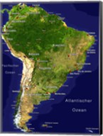 South America - Satellite Orthographic Political Map Fine-Art Print