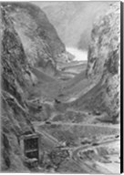 Looking upstream through Black Canyon toward Hoover Dam site showing condition after diversion of Colorado River Fine-Art Print