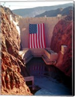 Hoover Dam with large  American flag Fine-Art Print