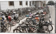 Bicycles parked outside a building, Beijing, China Fine-Art Print
