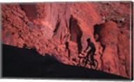 Silhouette of a man mountain biking, Moab, Utah, USA Fine-Art Print