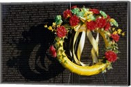 Wreath on the Vietnam Veterans Memorial Wall, Vietnam Veterans Memorial, Washington, D.C., USA Fine-Art Print
