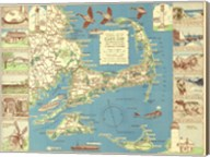 1940 Colonial Craftsman Decorative Map of Cape Cod, Massachusetts Fine-Art Print
