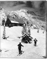 Rear view of two people skiing, Washington, USA Fine-Art Print