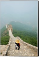 Tourist climbing up steps on a wall, Great Wall of China, Beijing, China Fine-Art Print