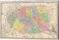 1867 colored Logerot Map of Paris, France Fine-Art Print
