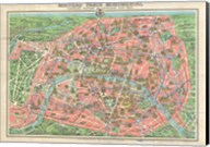 Map of Paris circa 1931 including monuments Fine-Art Print