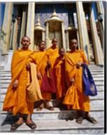 Group of monks, Wat Phra Kaeo Temple of the Emerald Buddha, Bangkok, Thailand Fine-Art Print
