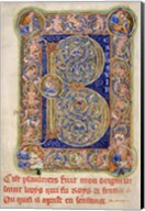 Illuminated Manuscript, Psalter. Inhabited Initial B of Psalm 1 Fine-Art Print