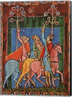 St. Albans Psalter, The Three Magi following the star Fine-Art Print