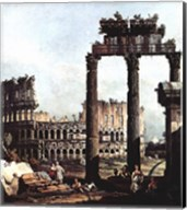 Colosseum and the ruins of the Temple of Castor et Pollux Fine-Art Print