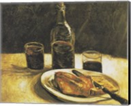 Still Life with Bottle, Two Glasses, Cheese and Bread Fine-Art Print