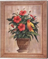 Hibiscus with Parrot Fine-Art Print
