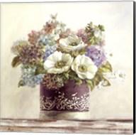 Anemones in Aubergine Hatbox Fine-Art Print