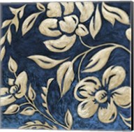 Indigo and Cream Brocade I Fine-Art Print