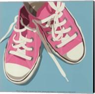 Lowtops (pink on blue) Fine-Art Print