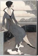 Art Deco Lady With Dog Fine-Art Print