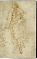 Female Figure with a Tibia, and Ornamental Studies Fine-Art Print