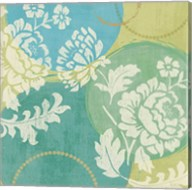 Floral Decal Turquoise II Fine-Art Print