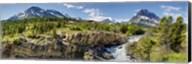 Waterfalls at base of a lake, Swiftcurrent Lake, Glacier National Park, Montana, USA Fine-Art Print