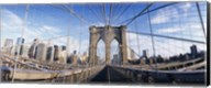 Railings of a bridge, Brooklyn Bridge, Manhattan, New York City, New York State, USA, (pre Sept. 11, 2001) Fine-Art Print