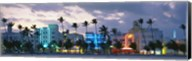 Buildings Lit Up At Dusk, Ocean Drive, Miami Beach, Florida, USA Fine-Art Print