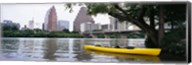 Yellow kayak in a reservoir, Lady Bird Lake, Colorado River, Austin, Travis County, Texas, USA Fine-Art Print