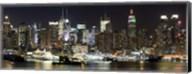 Buildings in a city lit up at night, Hudson River, Midtown Manhattan, Manhattan, New York City, New York State, USA Fine-Art Print