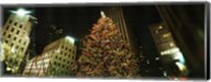 Christmas tree lit up at night, Rockefeller Center, Manhattan, New York State Fine-Art Print