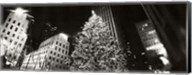 Christmas tree lit up at night, Rockefeller Center, Manhattan (black and white) Fine-Art Print