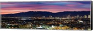 High angle view of a city at dusk, Culver City, Santa Monica Mountains, West Los Angeles, Westwood, California, USA Fine-Art Print