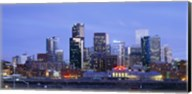 Buildings lit up at dusk, Denver, Colorado Fine-Art Print
