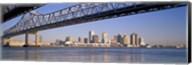 Low angle view of bridges across a river, Crescent City Connection Bridge, Mississippi River, New Orleans, Louisiana, USA Fine-Art Print