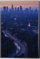 High angle view of highway 101 at dawn, Hollywood Freeway, Hollywood, Los Angeles, California, USA Fine-Art Print
