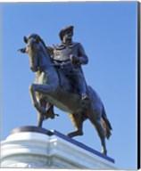 Statue of Sam Houston pointing towards San Jacinto battlefield against blue sky, Hermann Park, Houston, Texas, USA Fine-Art Print