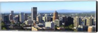 Cityscape with Mt St. Helens and Mt Adams in the background, Portland, Multnomah County, Oregon, USA 2010 Fine-Art Print