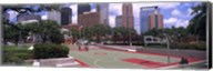Basketball court with skyscrapers in the background, Houston, Texas Fine-Art Print