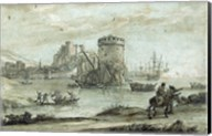 Figures in a Landscape before a Harbor Fine-Art Print