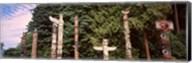 Totem poles in a park, Stanley Park, Vancouver, British Columbia, Canada Fine-Art Print