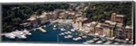 High angle view of boats docked at a harbor, Italian Riviera, Portofino, Italy Fine-Art Print