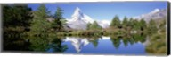 Reflection of trees and mountain in a lake, Matterhorn, Switzerland Fine-Art Print