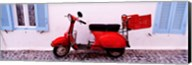 Motor scooter parked in front of a building, Santorini, Cyclades Islands, Greece Fine-Art Print