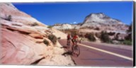 Two people cycling on the road, Zion National Park, Utah, USA Fine-Art Print