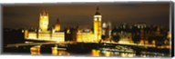 Buildings lit up at night, Westminster Bridge, Big Ben, Houses Of Parliament, Westminster, London, England Fine-Art Print