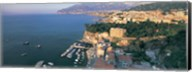 High angle view of a town at the coast, Sorrento, Naples, Campania, Italy Fine-Art Print