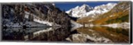 Reflection of snowy mountains in the lake, Maroon Bells, Elk Mountains, Colorado, USA Fine-Art Print
