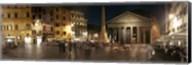 Town square with buildings lit up at night, Pantheon Rome, Piazza Della Rotonda, Rome, Lazio, Italy Fine-Art Print