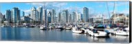 Boats at marina with Vancouver skylines in the background, False Creek, British Columbia, Canada Fine-Art Print