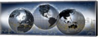 Three globes with electronic diagram Fine-Art Print