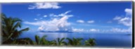 Indian ocean with palm trees towards Mahe Island looking from North Island, Seychelles Fine-Art Print